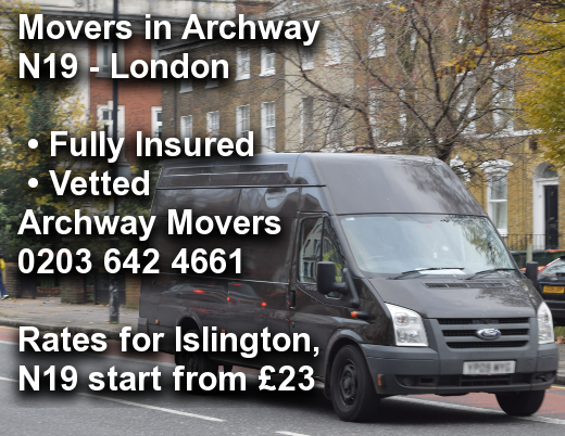 Movers in Archway N19, Islington