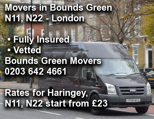 Movers in Bounds Green N11, N22, Haringey