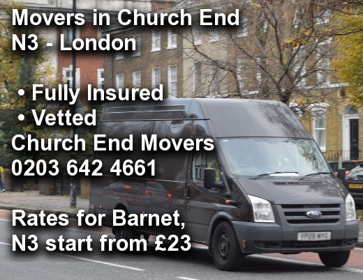 Movers in Church End N3, Barnet
