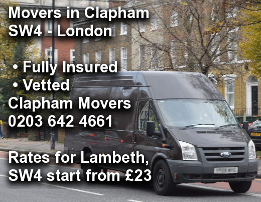 Movers in Clapham SW4, Lambeth
