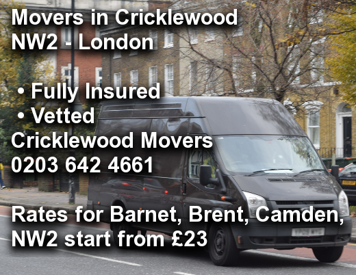 Movers in Cricklewood NW2, Barnet, Brent, Camden