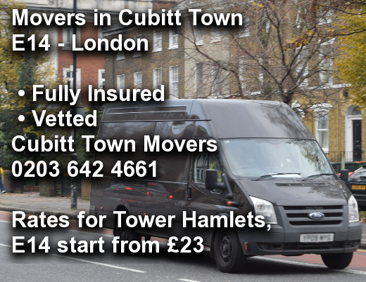 Movers in Cubitt Town E14, Tower Hamlets