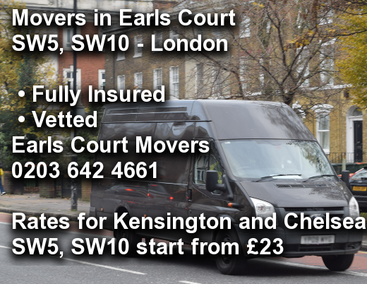 Movers in Earls Court SW5, SW10, Kensington and Chelsea