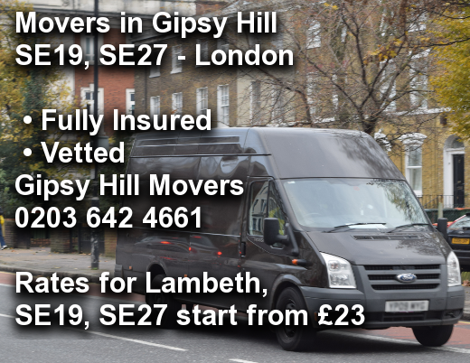 Movers in Gipsy Hill SE19, SE27, Lambeth