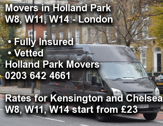 Movers in Holland Park W8, W11, W14, Kensington and Chelsea