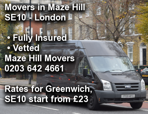 Movers in Maze Hill SE10, Greenwich