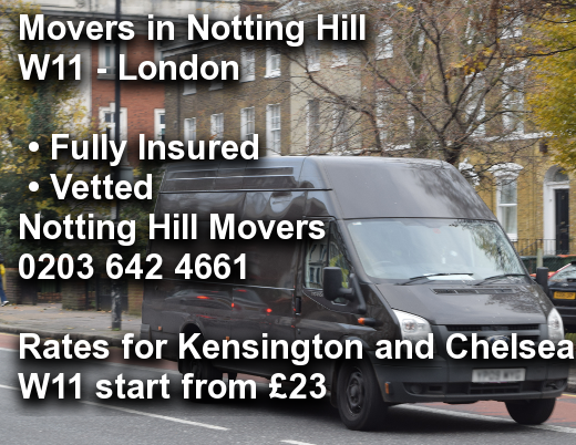 Movers in Notting Hill W11, Kensington and Chelsea