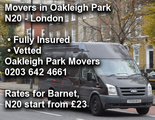 Movers in Oakleigh Park N20, Barnet