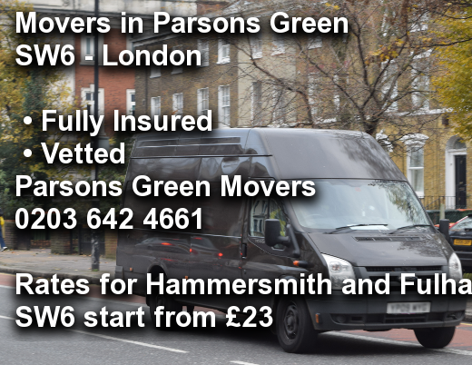 Movers in Parsons Green SW6, Hammersmith and Fulham