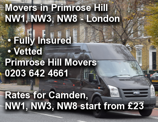 Movers in Primrose Hill NW1, NW3, NW8, Camden