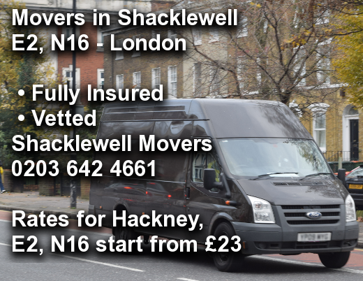 Movers in Shacklewell E2, N16, Hackney