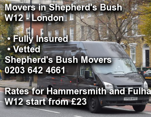 Movers in Shepherd's Bush W12, Hammersmith and Fulham