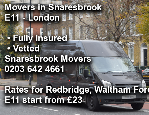 Movers in Snaresbrook E11, Redbridge, Waltham Forest