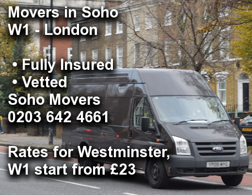 Movers in Soho W1, Westminster