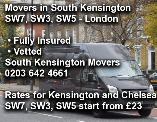 Movers in South Kensington SW7, SW3, SW5, Kensington and Chelsea