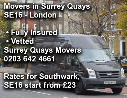 Movers in Surrey Quays SE16, Southwark