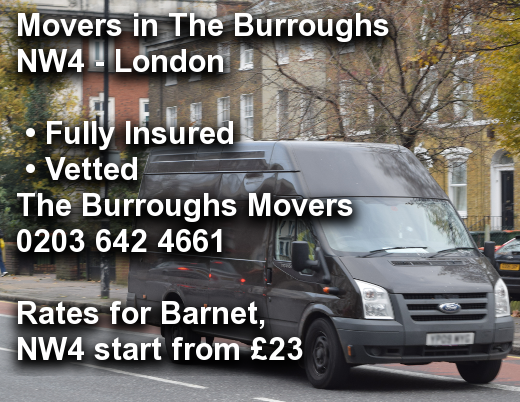 Movers in The Burroughs NW4, Barnet