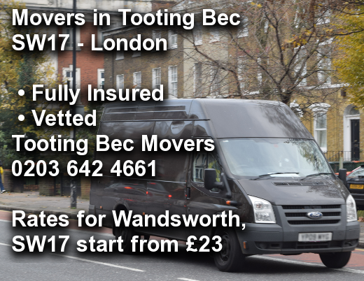 Movers in Tooting Bec SW17, Wandsworth