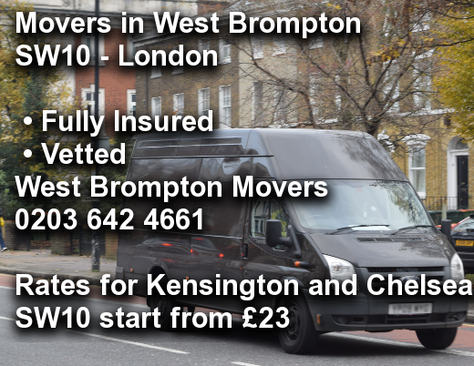 Movers in West Brompton SW10, Kensington and Chelsea