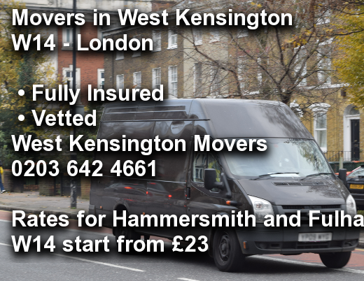 Movers in West Kensington W14, Hammersmith and Fulham