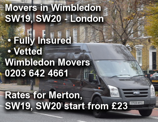 Movers in Wimbledon SW19, SW20, Merton